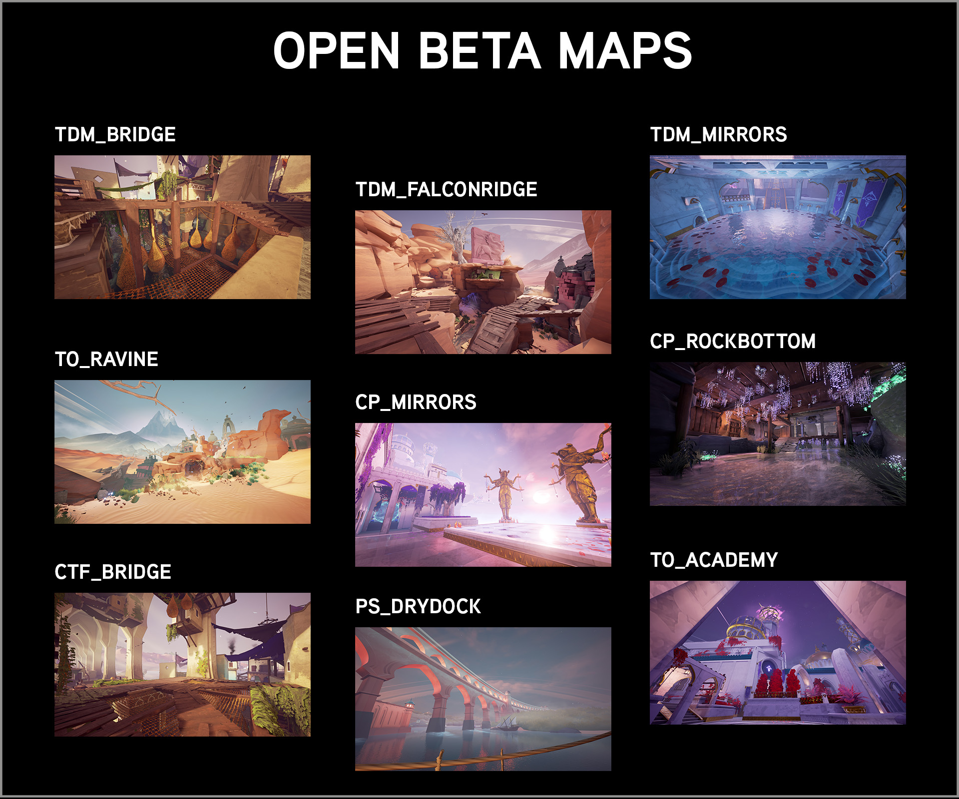 maps list open beta